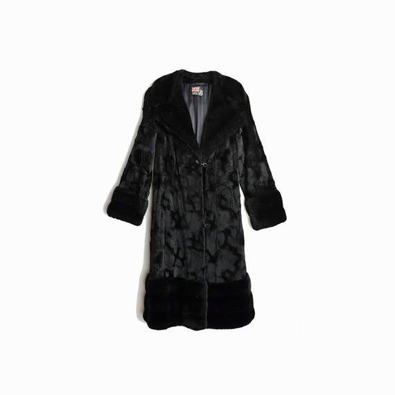 Vintage 70s Almost Famous Coat / Black Faux Fur Coat / Long Black Coat / British Rock Star Coat - women's small