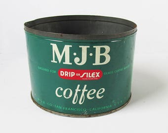 "1950s MJB Coffee Tin - Coffee Can - Green, Red & White ""Fun Retro Kitchen Storage"""
