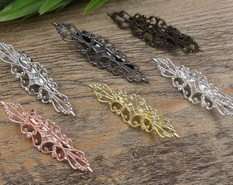 20 Brass Hair Clips W/ 15x57mm Filigree Floral Base Setting Antique Bronze/ Silver/ Gold/ Rose Gold/ White Gold/ Gun-Metal Plated- Z7251