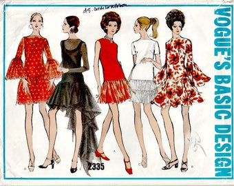 1969 Low-Waisted Party Dress Pattern  VOGUE 2335  Out of Print Vintage Dress Pattern by Vogue with Skirt Variations  Fishtail Skirt Bust 34