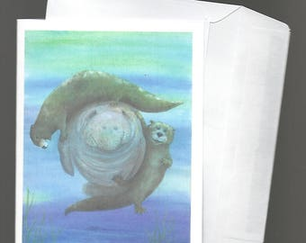 Note Card A Florida manatee is a sitting duck for playful otters bowman blank notecard seacow sea cow fun river otter cute humor smile