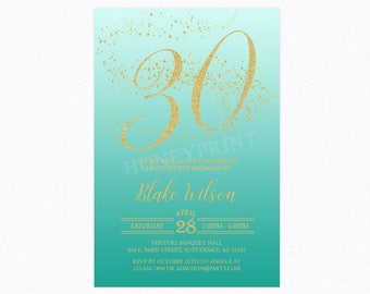 Milestone Birthday Party Invitation, Turquoise, Gold Glitter, 18th, 21st, 30th, Any Age, Personalized, Printable or Printed