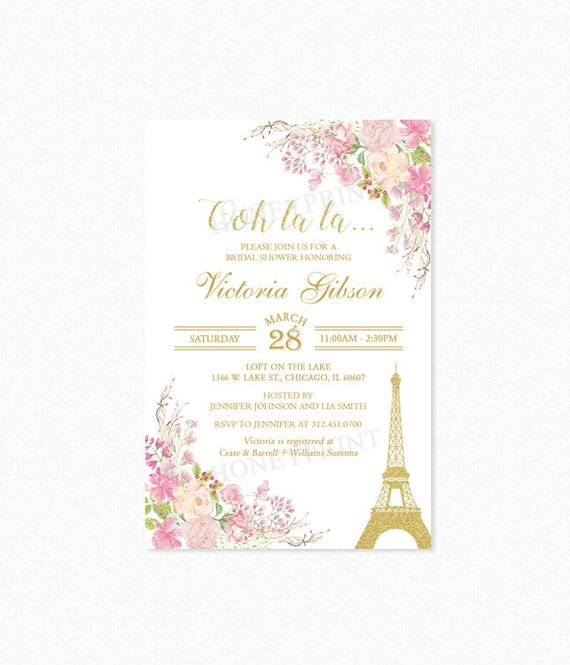 Paris eiffel tower bridal shower invitation paris themed for Paris themed invitations bridal shower