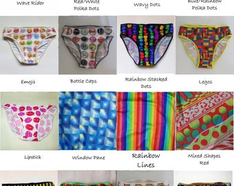 LeoLines (TM) M2F (mtf) No Tuck Transgender Panties Underwear -  PATTERNS  - Polka Dots, Rainbows, Lips, Jewelry - Child to Adult Sizes