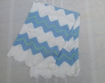 Crocheted Baby Toddler Child Children Blanket Light Blue Mint Green White READY TO SHIP