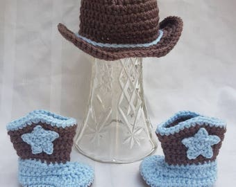 Crocheted Newborn Baby Boy Cowboy Boots and Cowboy Hat Blue and Brown Photo Prop Baby Shower Gift