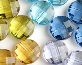 18mm Puffy Coin Beads in Aqua Blue, Dark Blue, Lavender Purple, Olive Green, Amber Orange. Faceted Acrylic Crystal Beads. Qty 6