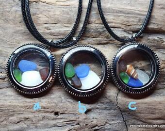 Sea Glass Pendant - Lake Erie Beach Glass Jewelry - Porthole Pendant - Cleveland Beach -  Fillable Pendant - FREE Shipping inside the US