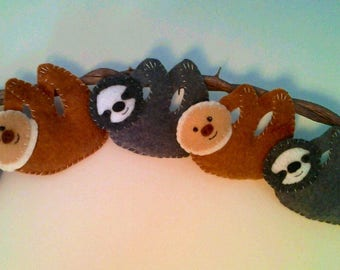 Smiling Sloth Felt Ornament--Choose Two-toed or Three-toed