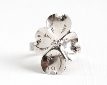 Vintage Sterling Silver Dogwood Flower Ring - Retro 1960s Stuart Nye Adjustable Floral Nature Inspired Dog Wood Statement Jewelry