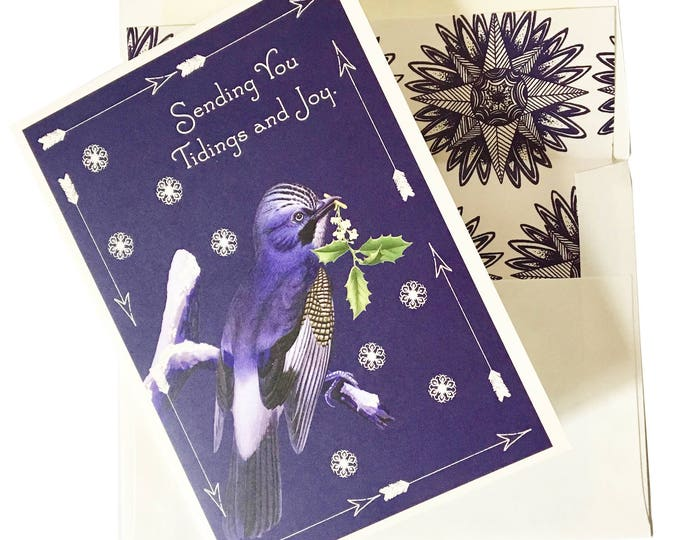 """Christmas no longer available! Don't miss the Spring Collection coming soon! Christmas Greeting Card """"Blue bird"""""""