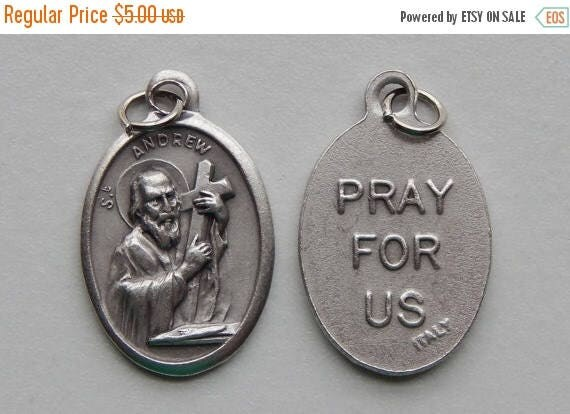 CLOSING SALE 5 Patron Saint Medal Findings - St. Andrew, Die Cast Silverplate, Silver Color, Oxidized Metal, Made in Italy, Charm, Drop, RM1
