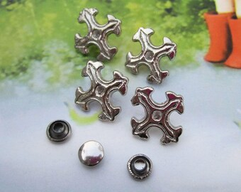 50 studs and spikes, metal studs, Cross spike stud, Cross studs, silver metal Cross studs, cross spike, jewelry studs for decoration 17x18mm