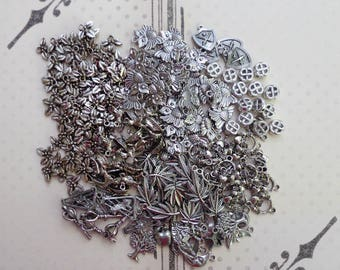 Large lot of Antique Silver Charms, Silverplate, Tibetan Silver