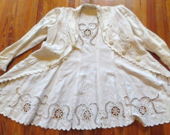 Stunning Edwardian White Cutwork Crochet/Lace/Embroidered Jacket