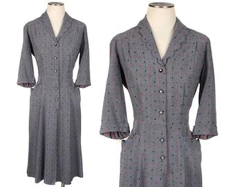 vintage 1940s polka dot dress • scalloped big pockets tailored wool • size large
