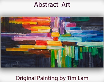 "Sale Original oil Painting Wall Art Abstract Painting 48"" Canvas  Surreal Landscape Wall Decor Modern Home Deco, Wall Hanging,  by Tim Lam"