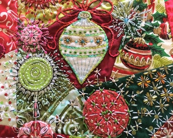 Christmas Crazy Quilt Block Pair Embellished Handmade