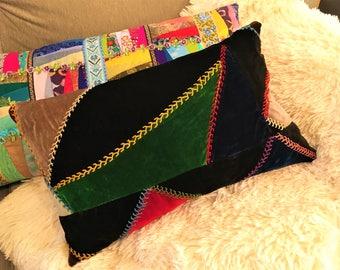 Crazy Quilt Pillow Antique Vintage Velvet