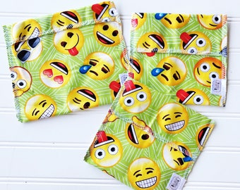 Reusable Ecofriendly Sandwich Bag and Snack Bags - emojis - set of 3