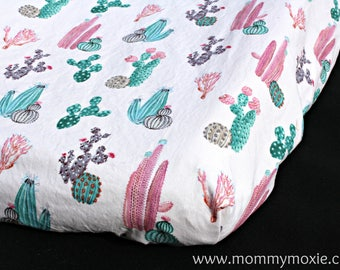 Pink Cactus Fitted Crib Sheet/Changing Pad Cover/Mini Crib Sheet - Cactus Baby Bedding- Modern Crib Sheet - Baby Girl -Mommy Moxie Etsy
