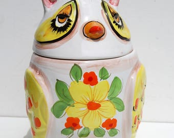 VTG Lefton OWL Cookie Jar, Ceramic, Made in Italy, White Yellow Orange, Retro