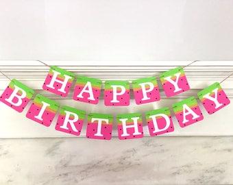WATERMELON HAPPY BIRTHDAY banner, summer birthday, pink and green, watermelon decoration, pool party banner, pool birthday banner