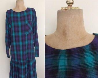 30% OFF 1980's Blue Plaid Cotton Vintage Dress Size Small Medium by Maeberry Vintage