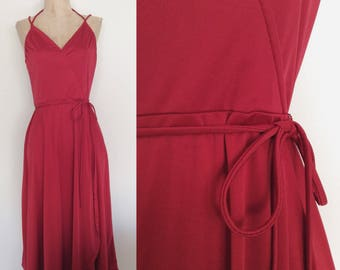 1970's Deep Red Polyester Disco Wrap Dress Size Small Medium by Maeberry Vintage