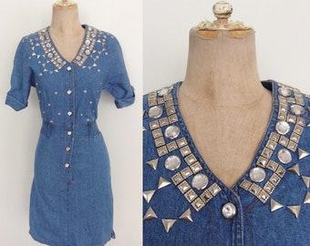 1980's Studded Rhinestone Denim Dress Bedazzled Jean Dress Size XXS XS Petite by Maeberry Vintage