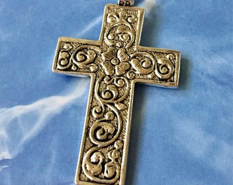 Cross Pendant Silver Floral Ornate Antiqued Pewter