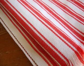 Vintage Red White Stripes Woven Sailcloth Cotton Tablecloth 46 x 54
