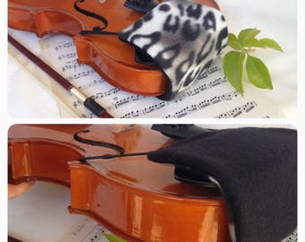 Reversible and Comfortable Violin Chin Rest / Metal Clamp Cover -1/16,  1/10, 1/8, 1/4, 1/2, 3/4 or 4/4 violin size -  23 Fleece Patterns