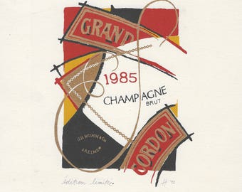 1992 lithograph Mumm champagne brut Grand Cordon 1985 signed limited edition