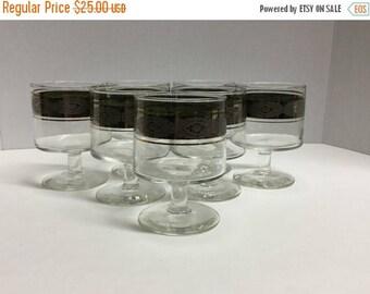 Sale Vintage Footed Drink Glasses Rocks Glasses Banner Trimmed Gold Trim Mad Men Style Drink Glasses Retro Glasses Set of 7