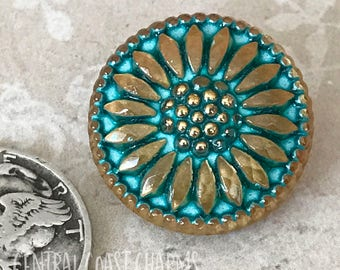 Czech Glass Button - 18mm Daisy Flower (1) Turquoise Blue Gold boho leather wrap crochet jewelry clasp focal closure - Central Coast Charms