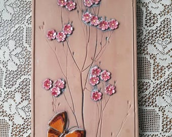 "Mid century / 12 1/2"" x 6 1/2""/ retro / ceramic / plaque / wall decor / seramic wall hanging / wall plaque / butterfly from Jie, Sweden"