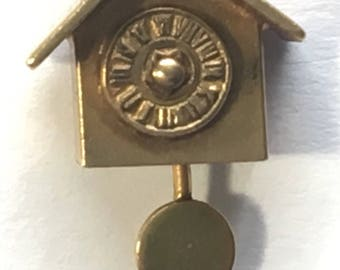 Vintage 10K Gold Hallmarked Clock Charm CA with Arrow