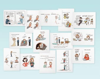 Set of 14 postcards with relatable comics/cartoons