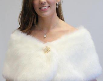 Summer Sale Bridal shrug, Ivory Faux fur Wrap, bridal stole, faux fur shrug, wedding shawl 306F-IVY