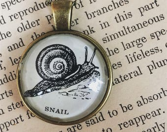 SNAIL Necklace - snail keychain - Vintage Illustration - Dictionary Art Necklace - Snail Jewelry - Oddities and Curiosities - Nature
