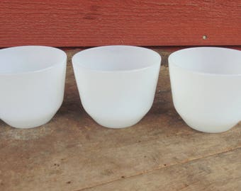 FEDERAL Glass. Small Bowl. Ramekin. Prep Bowls. Custard. Rice. Pudding. Bowls. set of 3. vintage 1950s. white bowls. kitchen. dishes
