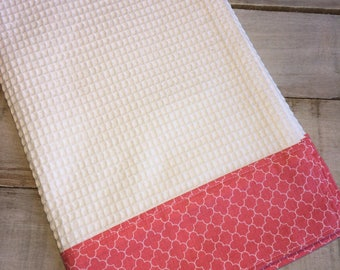 Kitchen Towel, Hand Towel, Teal Towel, Waffle Weave Towel, Dish Towel, Kitchen Hand Towel-Small Coral Quatrefoil