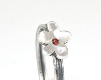 Tiny Flower Stacking Ring, Sterling Silver Ring, Dainty Ring, Garnet Ring, Silver Flower Ring, Cute Flower Stackable Ring, Stacked Ring