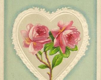 Embossed Elegant Pink Roses in White Heart Antique Birthday Postcard 1912