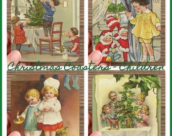 Set of 4 High Gloss CHILDREN AT CHRISTMAS Coasters   – Cork Back in Storage Case – Vintage Inspired Holiday Decor