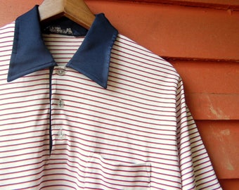 80s/90s Red White and Blue Robert Bruce Polo Americana Boating Summer Mens Casual Basic Work Shirt L