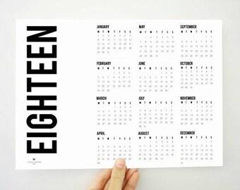 Fat Printable Calendar, 2018 Calendar, Yearly Calendar, Two Thousand Eighteen Calendar, 2018 Planner, Wall Calendar, Boss Gift, PDF Calendar