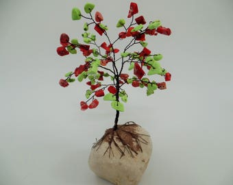 35th wedding anniversary gift, wire tree sculpture,gem tree,beaded tree,red and green tree,tree of life,red coral green turquoise tree