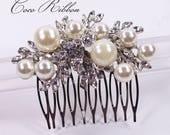 Silver Bridal Hair Comb, Crystal Pearl Wedding Jewelry Bridesmaid Rhinestone Hair Pin E44